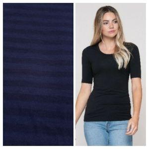 💕 EUC Free People Dark Blue mid sleeve Top